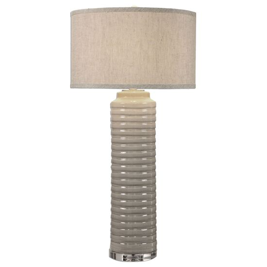 Ribbed Cylinder Lamp in Ivory Gray
