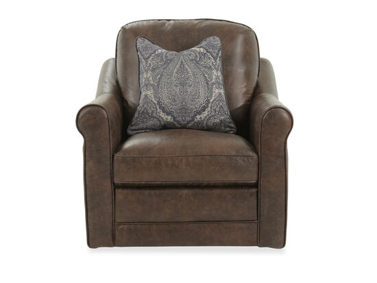 Casual Leather Swivel Chair in Brown