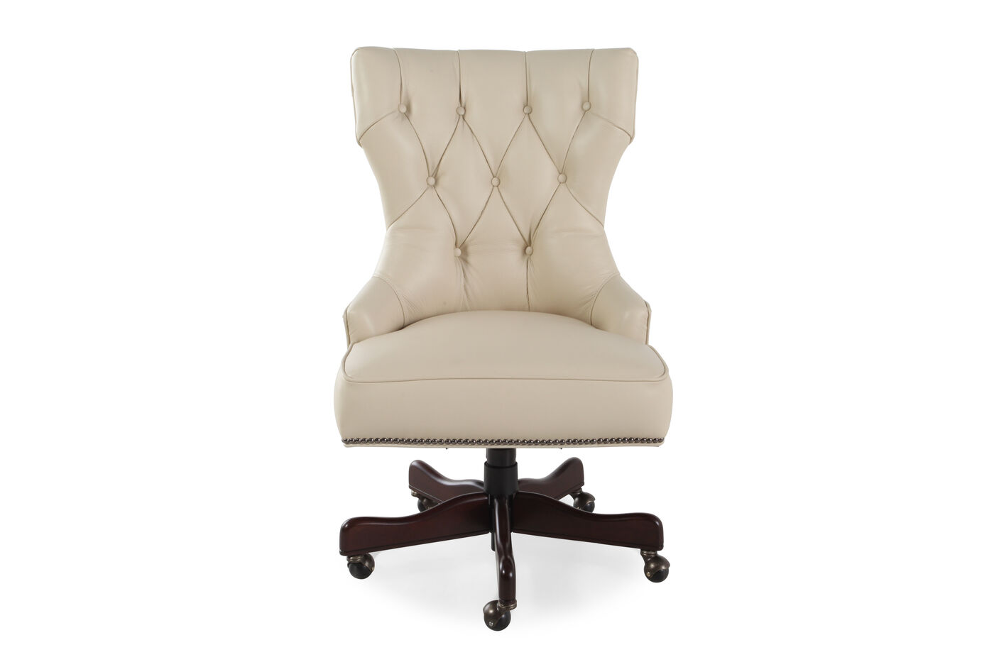 Leather Button-Tufted Swivel Tilt Desk Chair in Ivory | Mathis ...