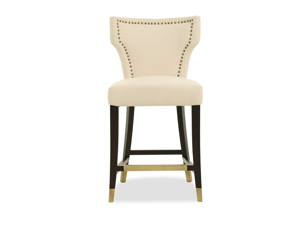"Contemporary 43"" Nailhead Accented Bar Stool in Cream"