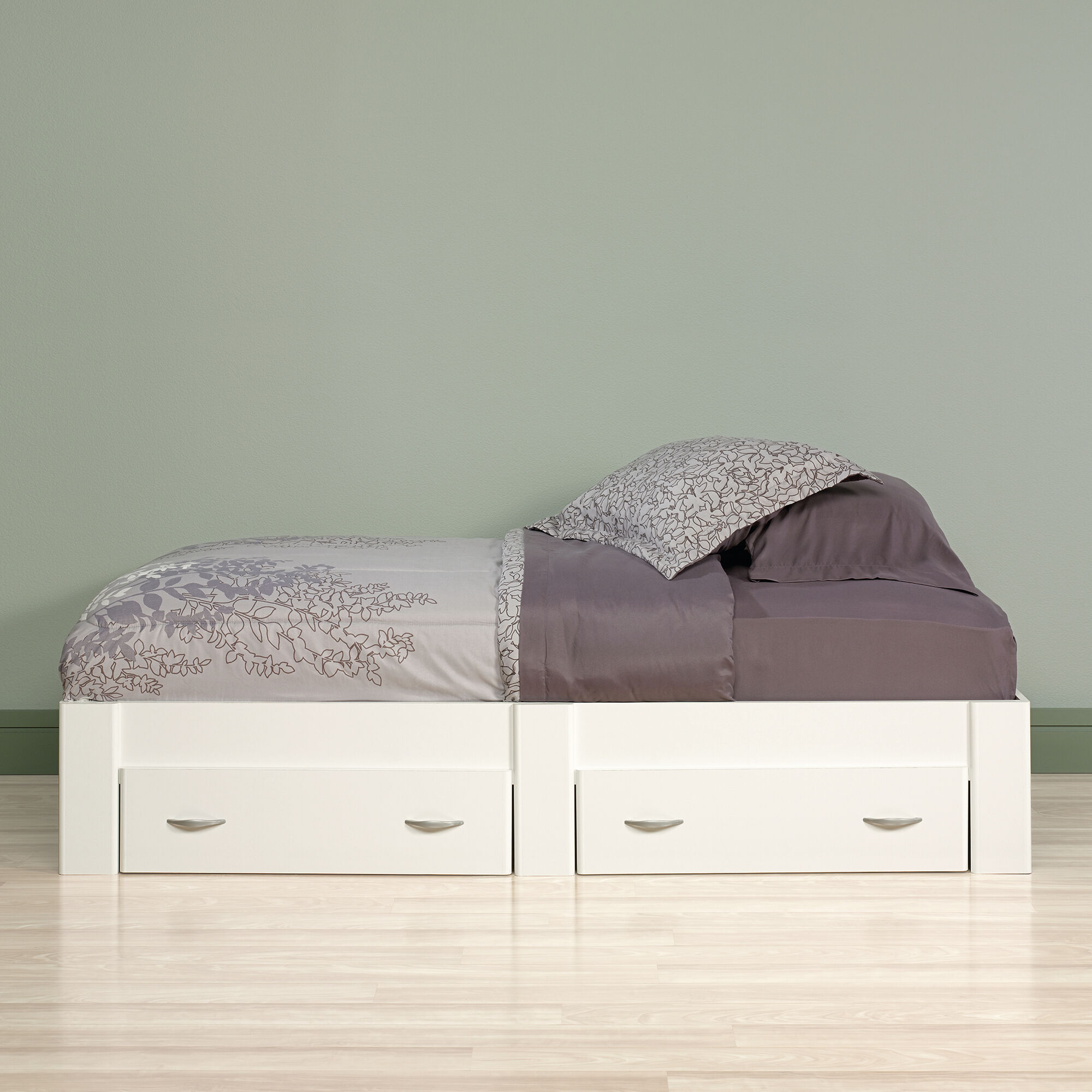 13 Twin Platform Bed With Storage Drawer In Soft White Mathis