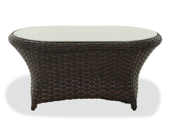 Contemporary Glass Top Patio Coffee Table in Dark Brown