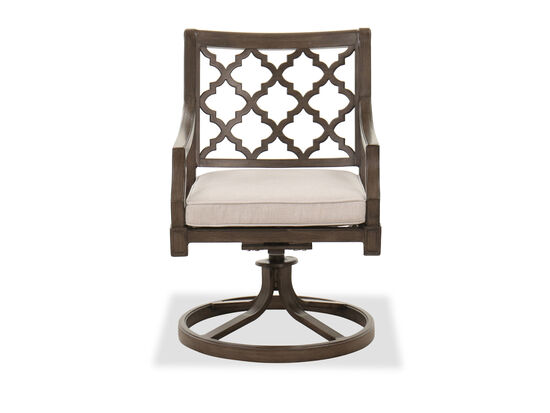 Casual Patio Swivel Dining Chair in Brown