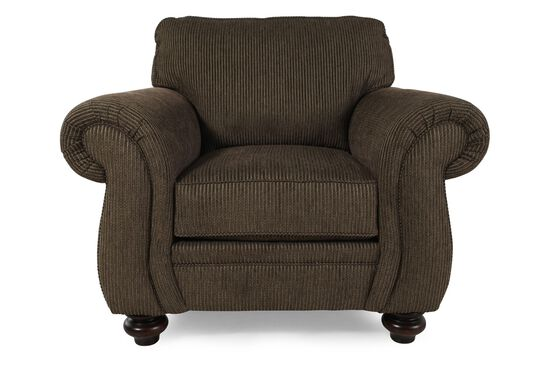 Textured Traditional Chair in Dark Brown