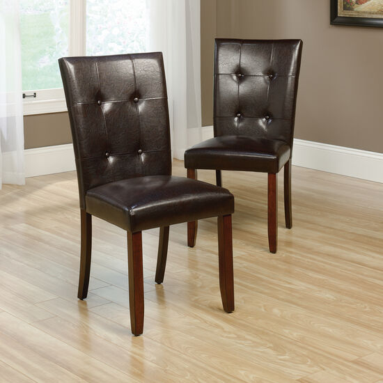 Two-Piece Button-Tufted 38'' Dining Chair Set in Brown