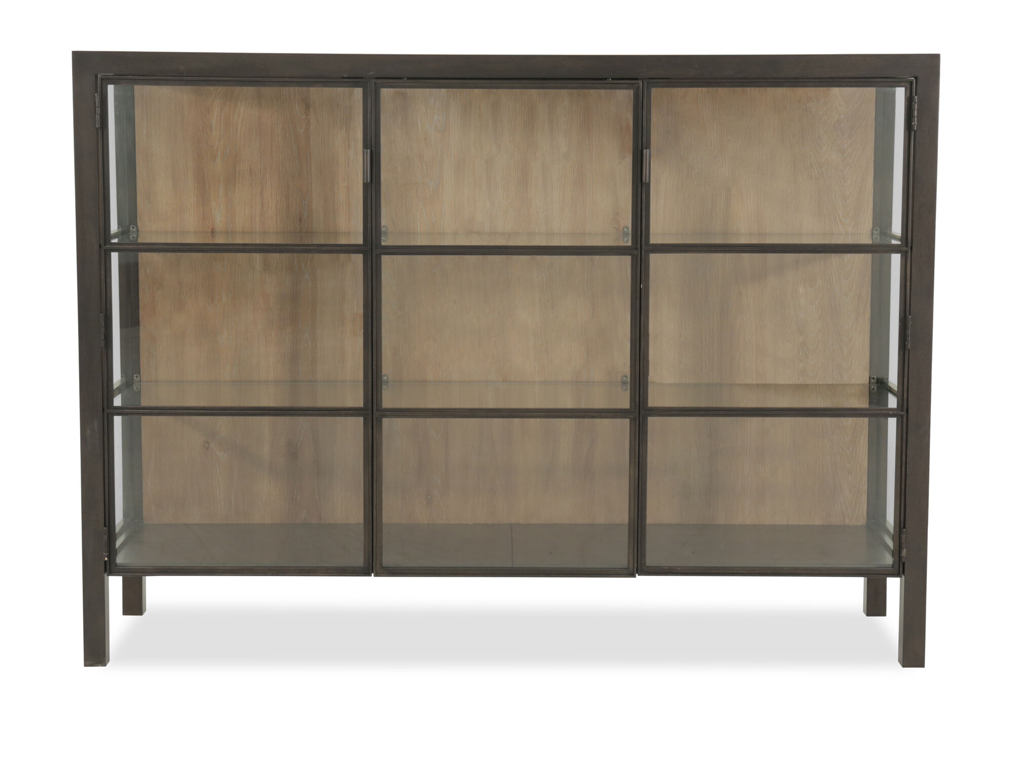 Mid Century Modern Framed Gl Doors Display Console In Brown Mathis Brothers Furniture
