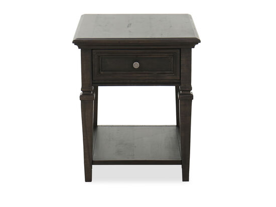 Transitional One-Drawer End Table in Dark Brown