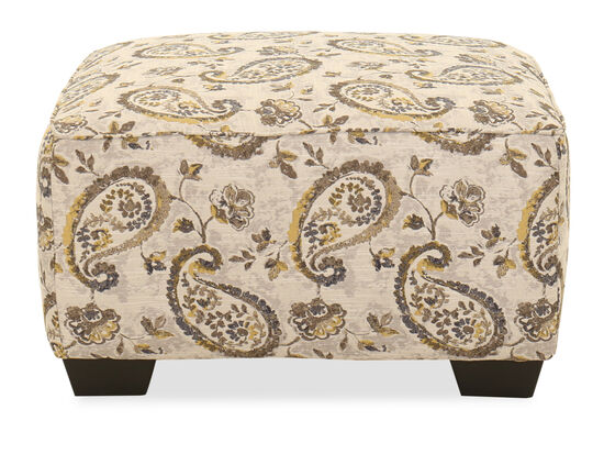Paisley-Printed Contemporary 34'' Ottoman