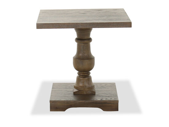 Traditional Pedestal End Table in Oak