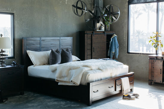 "58"" Industrial Planked Panel Storage Bed in Rustic Pine"