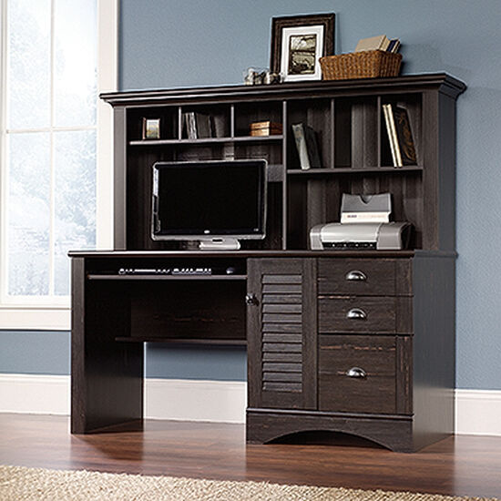 """62"""" Transitional Computer Desk with Hutch in Antiqued Paint"""