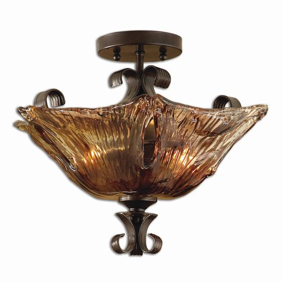 Two-Bulb Art Glass Semi Flushmount Light