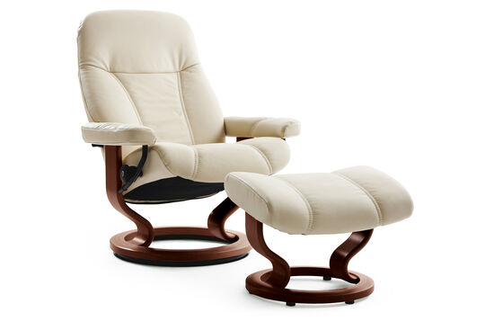 Leather Medium Swivel Chair and Ottoman in Cream