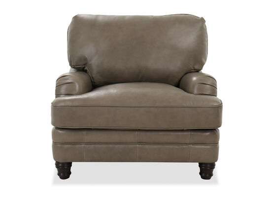 Casual Leather 40.5'' Chair in Grey