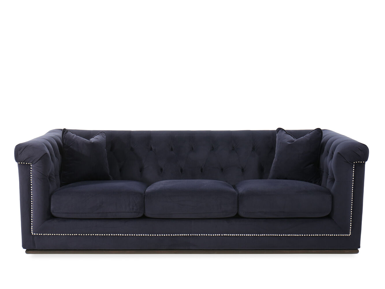 Button tufted velvet 93 sofa in blue mathis brothers for Button tufted velvet chaise settee