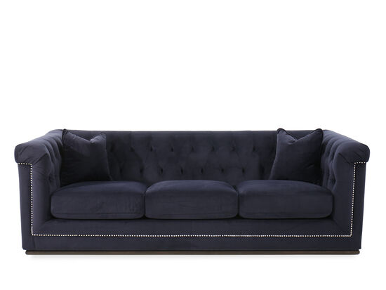 "Button-Tufted Velvet 93"" Sofa in Blue"