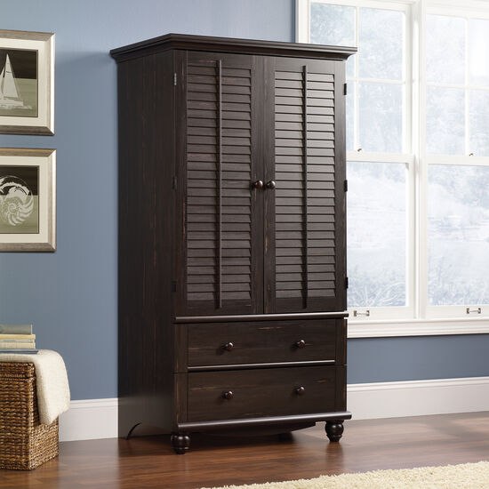 """72"""" Traditional Louver Door Armoirein Antiqued Paint"""