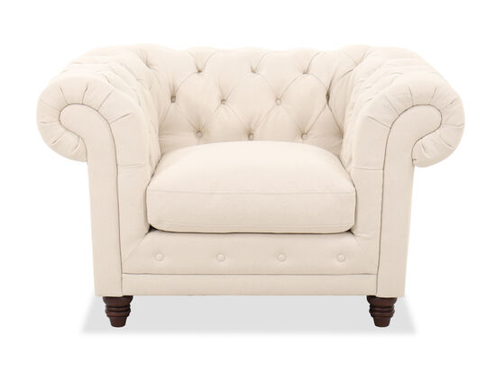 Contemporary Button-Tufted Chair in Beige