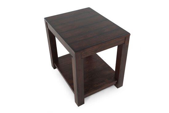 Casual Rectangular End Table in Dark Walnut