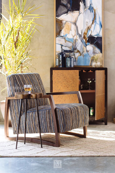"""Striped Mid-Century Modern 28"""" Accent Chair"""