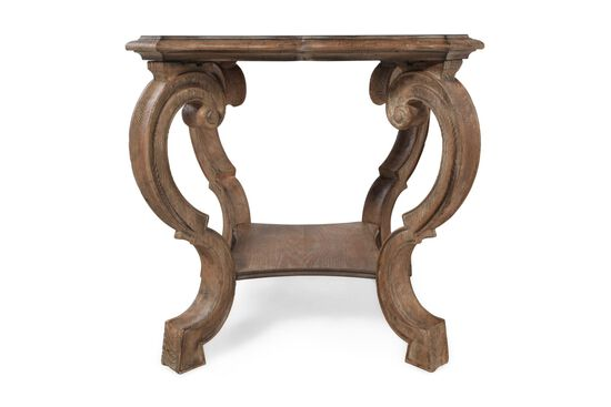 Weathered Square Traditional Lamp Table in Medium Brown