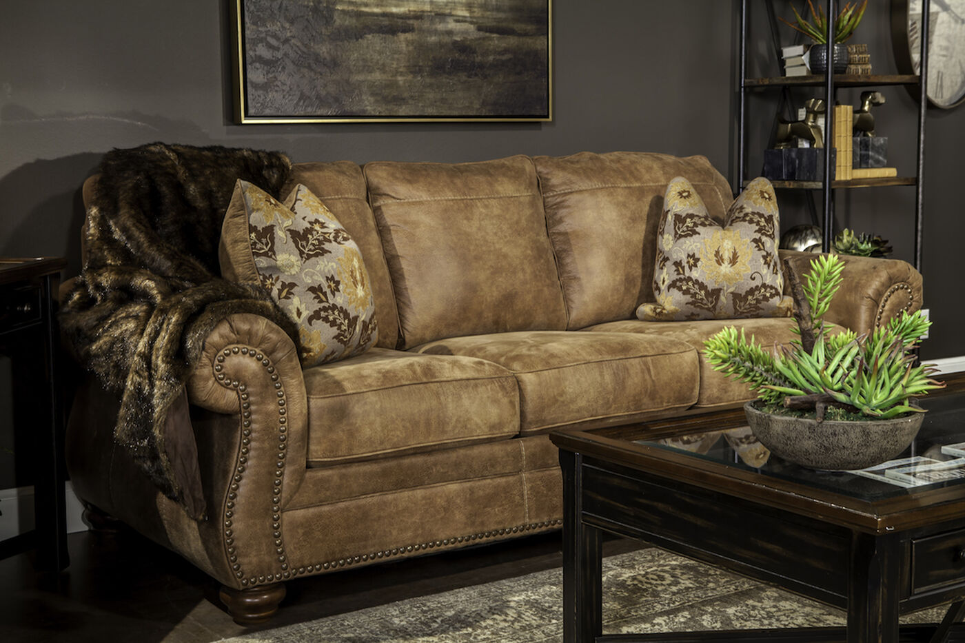 Traditional rolled arm 89 sofa in southwestern earth tone for Traditional settees living room furniture