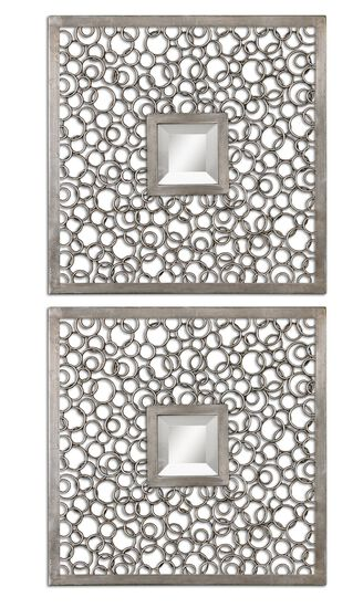 "Two-Piece 20"" Ring Frame Accent Mirrors in Antiqued Silver"