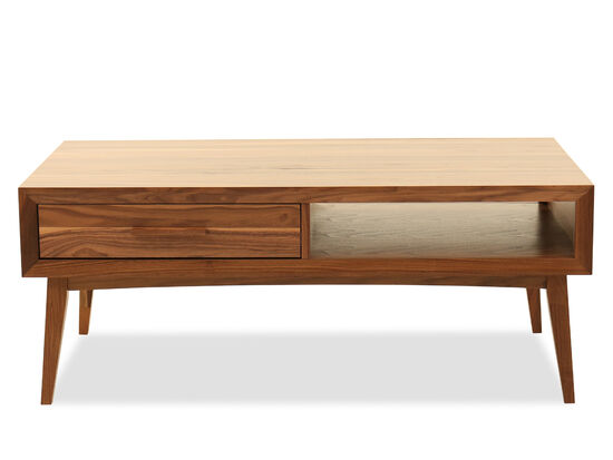 Modern One-Drawer Cocktail Table in Walnut