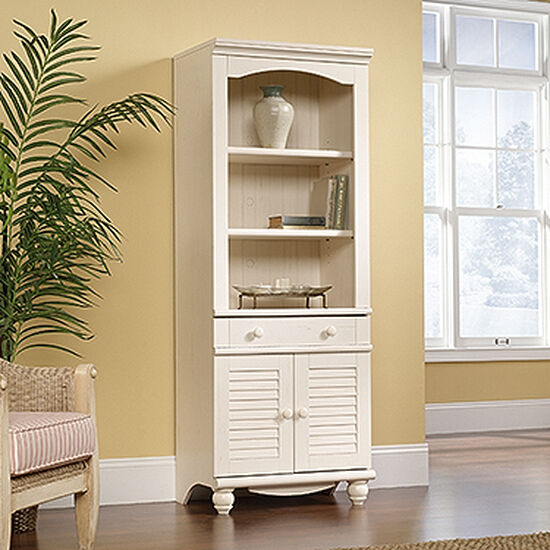 Two-Door Transitional Library in Antiqued White