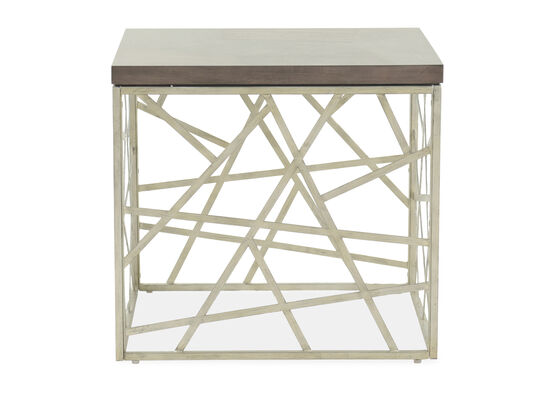 Geometric-Base Transitional End Table in Gray