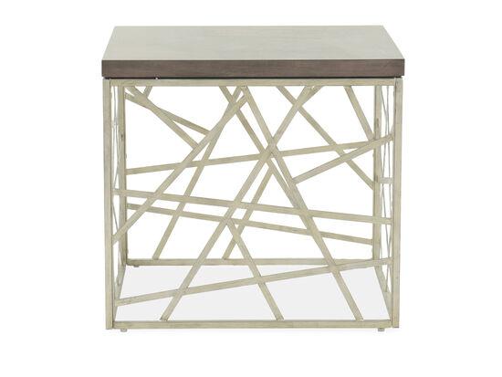 Geometric-Base Transitional End Tablein Gray