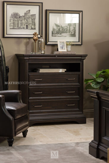 """46"""" Traditional Four-Drawer Media Chest in Black"""