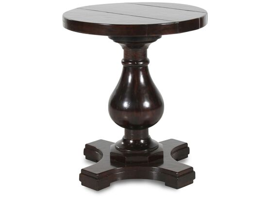 Round Traditional Side Table in Dark Brown