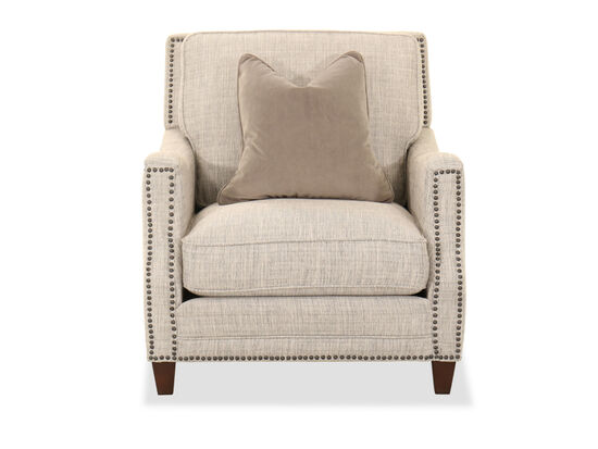"""Nailhead Accent Contemporary 35"""" Armchair in Beige"""