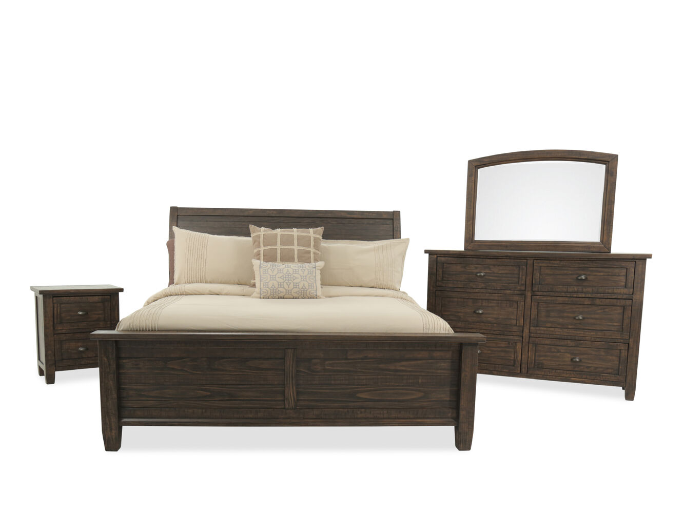 three piece traditional solid wood bedroom set in golden brown mathis brothers furniture. Black Bedroom Furniture Sets. Home Design Ideas