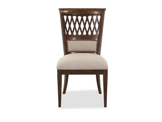 Nailhead-Accented Traditional Side Chair in Beige