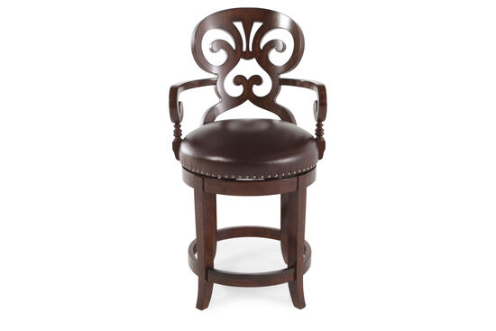 "Nailhead Accented 41"" Leather Bar Stool in Dark Brown"
