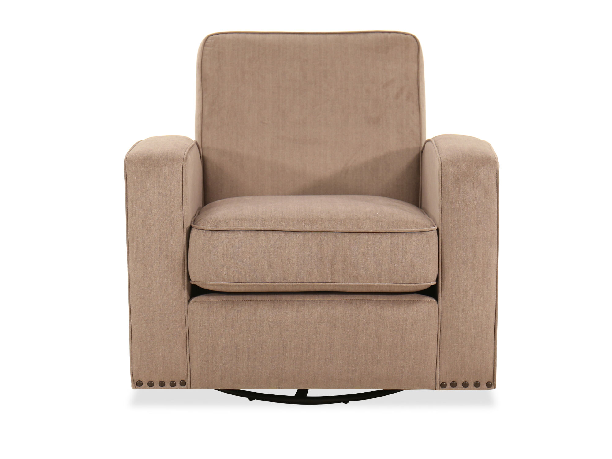 mesmerizing swivel chairs living room furniture | Nailhead-Trimmed Swivel Glider Chair in Light Brown ...