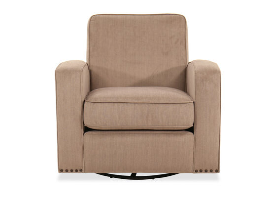 Nailhead-Trimmed Swivel Glider Chair in Light Brown