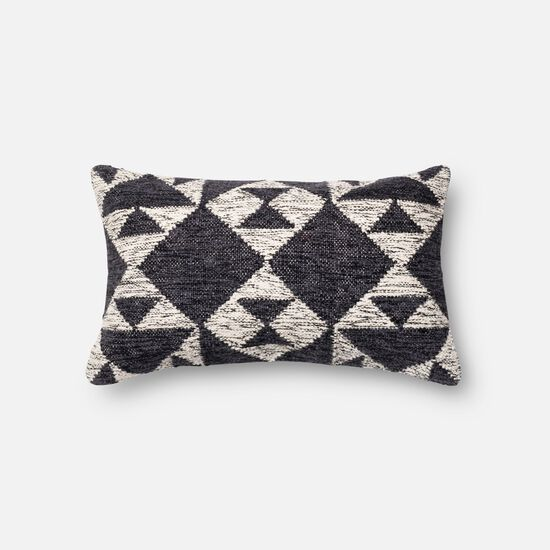 """Contemporary 13""""x21"""" Cover w/down pillow in Charcoal/Ivory"""
