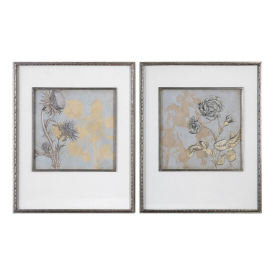 Two-Piece Floral Printed Framed Wall Art Set