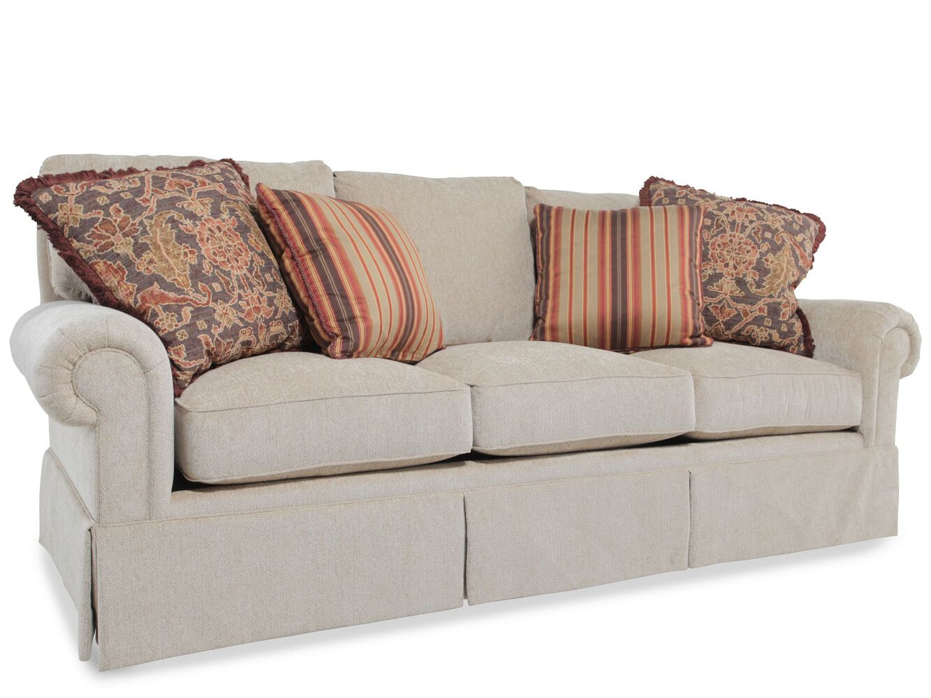 skirted rolled arm sofa in light brown mathis brothers furniture. Black Bedroom Furniture Sets. Home Design Ideas