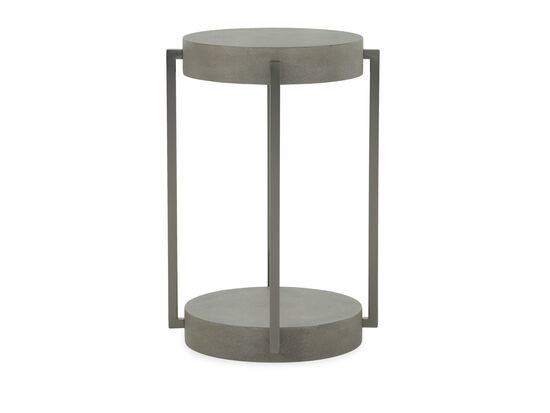 Round Casual End Table in Dark Taupe