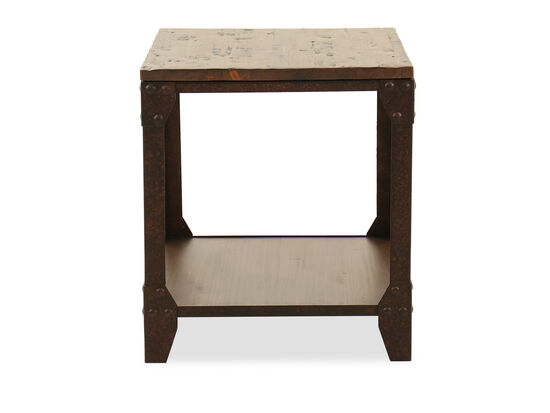 Ditressed Rectangular Casual End Table in Rich Brown