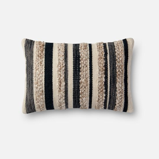 """13""""x21"""" Cover w/Poly Pillow in Charcoal/Ivory"""