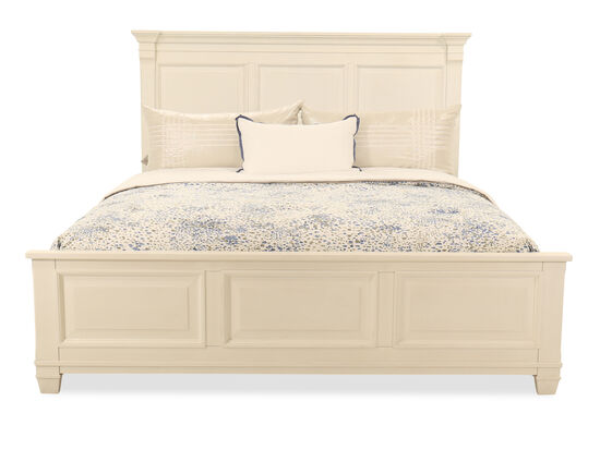 "60"" Transitional King Panel Bed in Cotton White"