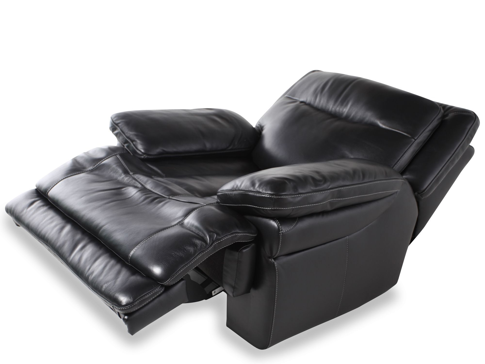Traditional Leather 40 Quot Power Recliner In Midnight Black