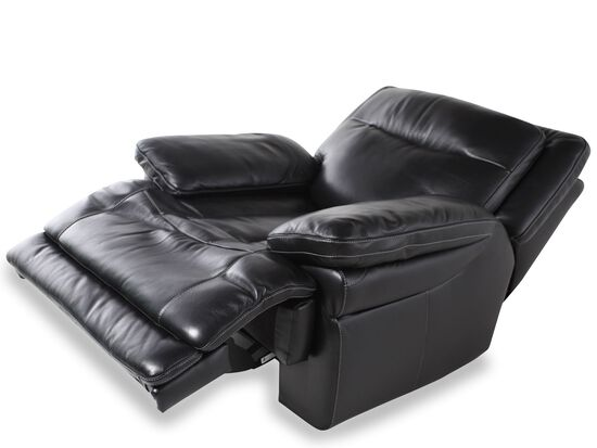 "Traditional Leather 40"" Power Recliner in Midnight Black"