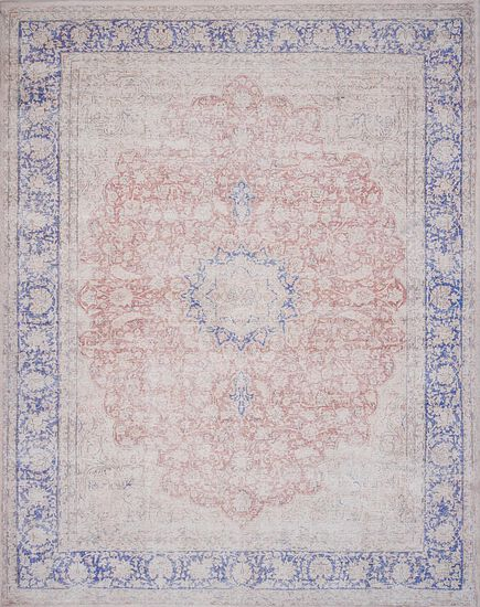 "Traditional 2'-3""x3'-9"" Rug in Terracotta/Blue"