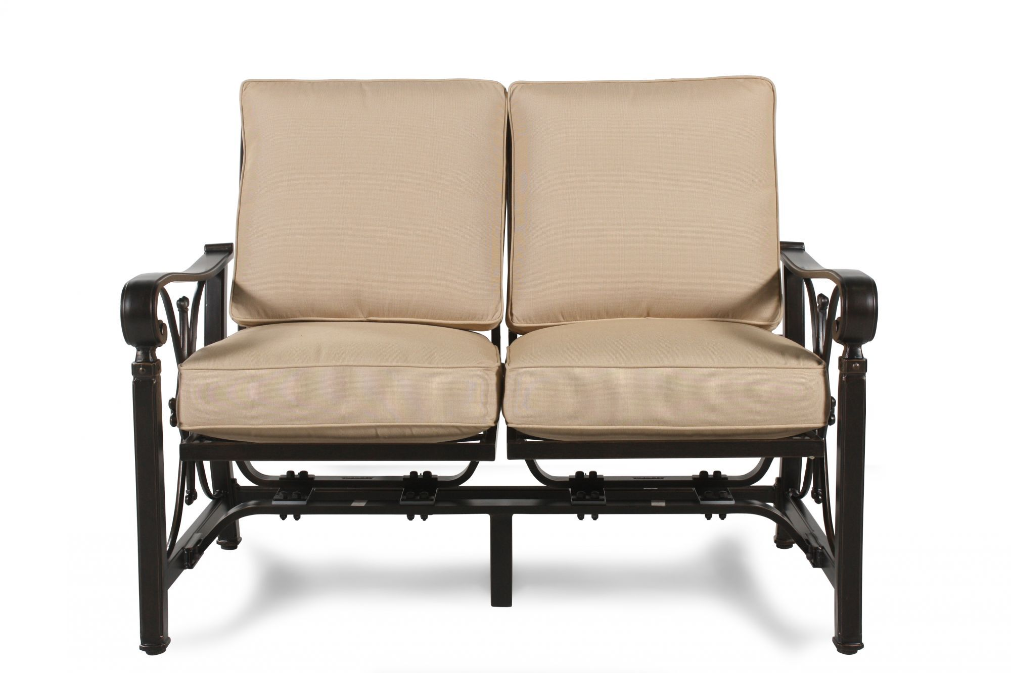 Images Aluminum Patio Loveseat With Cushion In Beige